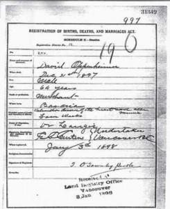 David Oppenheimer's death certificate